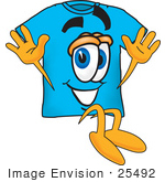 #25492 Clip Art Graphic Of A Blue Short Sleeved T Shirt Character Jumping