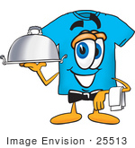 #25513 Clip Art Graphic Of A Blue Short Sleeved T Shirt Character Dressed As A Waiter And Holding A Serving Platter