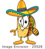 #25528 Clip Art Graphic Of A Crunchy Hard Taco Character Looking Through A Magnifying Glass