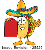 #25529 Clip Art Graphic Of A Crunchy Hard Taco Character Holding A Red Sales Price Tag