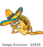 #25535 Clip Art Graphic Of A Crunchy Hard Taco Character Resting His Head On His Hand