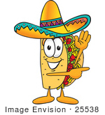 #25538 Clip Art Graphic Of A Crunchy Hard Taco Character Waving And Pointing