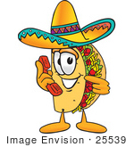 #25539 Clip Art Graphic Of A Crunchy Hard Taco Character Holding A Telephone