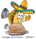 #25541 Clip Art Graphic Of A Crunchy Hard Taco Character Serving A Thanksgiving Turkey On A Platter