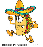 #25542 Clip Art Graphic Of A Crunchy Hard Taco Character Running