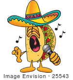 #25543 Clip Art Graphic Of A Crunchy Hard Taco Character Singing Loud Into A Microphone