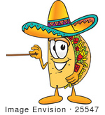 #25547 Clip Art Graphic Of A Crunchy Hard Taco Character Holding A Pointer Stick