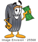 #25568 Clip Art Graphic Of A Tire Character Holding A Dollar Bill