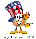 #25598 Clip Art Graphic Of A Patriotic Uncle Sam Character Waving And Pointing