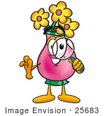 #25683 Clip Art Graphic Of A Pink Vase And Yellow Flowers Cartoon Character Looking Through A Magnifying Glass