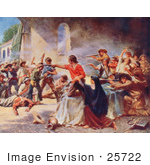 #25722 Stock Photography Of Men Fighting During The Battle Of The Alamo In 1836