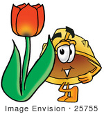 #25755 Clip Art Graphic Of A Yellow Safety Hardhat Cartoon Character With A Red Tulip Flower In The Spring