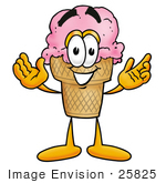 #25825 Clip Art Graphic Of A Strawberry Ice Cream Cone Cartoon Character With Welcoming Open Arms