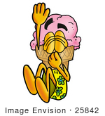 #25842 Clip Art Graphic Of A Strawberry Ice Cream Cone Cartoon Character Plugging His Nose While Jumping Into Water