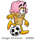 #25859 Clip Art Graphic Of A Strawberry Ice Cream Cone Cartoon Character Kicking A Soccer Ball