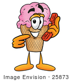 #25873 Clip Art Graphic Of A Strawberry Ice Cream Cone Cartoon Character Holding A Telephone