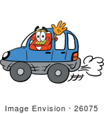 #26075 Clip Art Graphic Of A Red Landline Telephone Cartoon Character Driving A Blue Car And Waving
