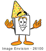 #26100 Clip Art Graphic Of A White Copy And Print Paper Cartoon Character Wearing A Birthday Party Hat