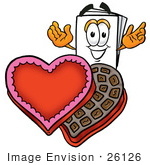 #26126 Clip Art Graphic Of A White Copy And Print Paper Cartoon Character With An Open Box Of Valentines Day Chocolate Candies