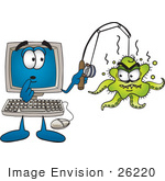 #26220 Clip Art Graphic Of A Shocked Desktop Computer Cartoon Character With An Ugly Green Octopus Hooked On His Fishing Pole