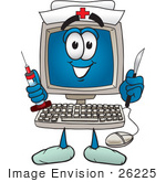 #26225 Clip Art Graphic of a Desktop Computer Nurse Cartoon Character Holding a Syringe and Scalpel by toons4biz