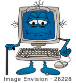 #26228 Clip Art Graphic Of An Old Desktop Computer Cartoon Character With Keys Falling Off Of The Keyboard Using A Cane