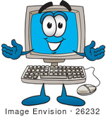 #26232 Clip Art Graphic of a Friendly Desktop Computer Cartoon Character by toons4biz