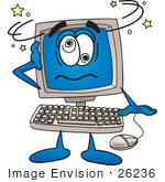 #26236 Clip Art Graphic Of A Desktop Computer Cartoon Character Crashing