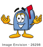 #26298 Clip Art Graphic Of A Blue Snail Mailbox Cartoon Character With Welcoming Open Arms