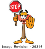 #26346 Clip Art Graphic Of A Plumbing Toilet Or Sink Plunger Cartoon Character Holding A Stop Sign