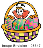 #26347 Clip Art Graphic Of A Plumbing Toilet Or Sink Plunger Cartoon Character In An Easter Basket Full Of Decorated Easter Eggs