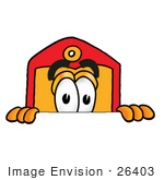 #26403 Clip Art Graphic Of A Red And Yellow Sales Price Tag Cartoon Character Peeking Over A Surface