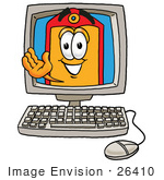 #26410 Clip Art Graphic Of A Red And Yellow Sales Price Tag Cartoon Character Waving From Inside A Computer Screen