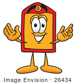 #26434 Clip Art Graphic Of A Red And Yellow Sales Price Tag Cartoon Character With Welcoming Open Arms