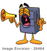 #26464 Clip Art Graphic Of A Suitcase Luggage Cartoon Character Screaming Into A Megaphone