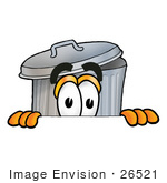 #26521 Clip Art Graphic Of A Metal Trash Can Cartoon Character Peeking Over A Surface