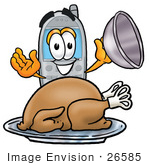 #26585 Clip Art Graphic Of A Gray Cell Phone Cartoon Character Serving A Thanksgiving Turkey On A Platter