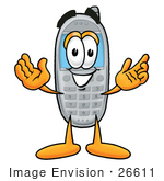 #26611 Clip Art Graphic Of A Gray Cell Phone Cartoon Character With Welcoming Open Arms