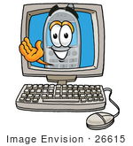 #26615 Clip Art Graphic Of A Gray Cell Phone Cartoon Character Waving From Inside A Computer Screen