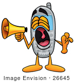 #26645 Clip Art Graphic Of A Gray Cell Phone Cartoon Character Screaming Into A Megaphone