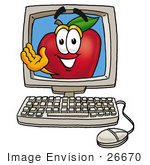 #26670 Clip Art Graphic Of A Red Apple Cartoon Character Waving From Inside A Computer Screen