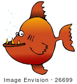 #26699 Toothy Orange Fish Clipart