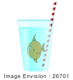 #26701 Fish In A Glass Of Water Clipart