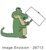 #26713 Green Alligator Holding A Blank Sign Clipart