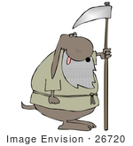 #26720 Grim Reaper Old Dog With A Scythe Clipart