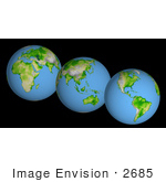 #2685 Picture Of World Globes - Three Views Of Earth