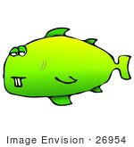 #26954 Goofy Green Fish With Two Front Buck Teeth Clipart Graphic
