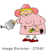 #27040 Friendly Blond Woman Dressed In A Pink Hat And Dress Kholding A Yellow Daisy While Watering In Her Garden Clipart Picture