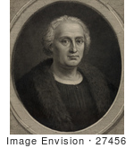 #27456 Illustration Of A Portrait Of Christopher Columbus Wearing A Fur Trimmed Coat And Facing Front