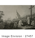 #27457 Illustration Of Christopher Columbus And His Crew Men Kneeling In Front Of A Priest During A Religious Service At A Large Cross During The First Landing In The New World